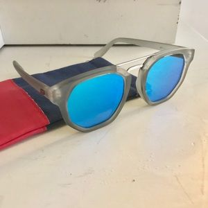 Modern Futuristic Le Specs Blue Metallic Lenses